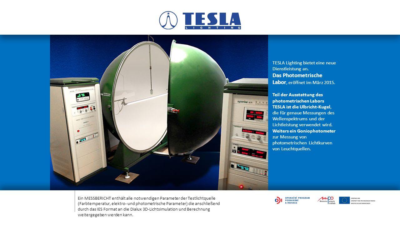 Ein MESSBERICHT enthält alle notwendigen Parameter der Testlichtquelle (Farbtemperatur, elektro- und photometrische Parameter) die anschließend durch das IES Format an die Dialux 3D-Lichtsimulation und Berechnung weitergegeben werden kann.