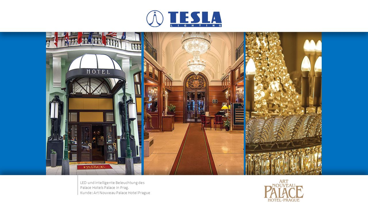 LED und intelligente Beleuchtung des Palace Hotels Palace in Prag.