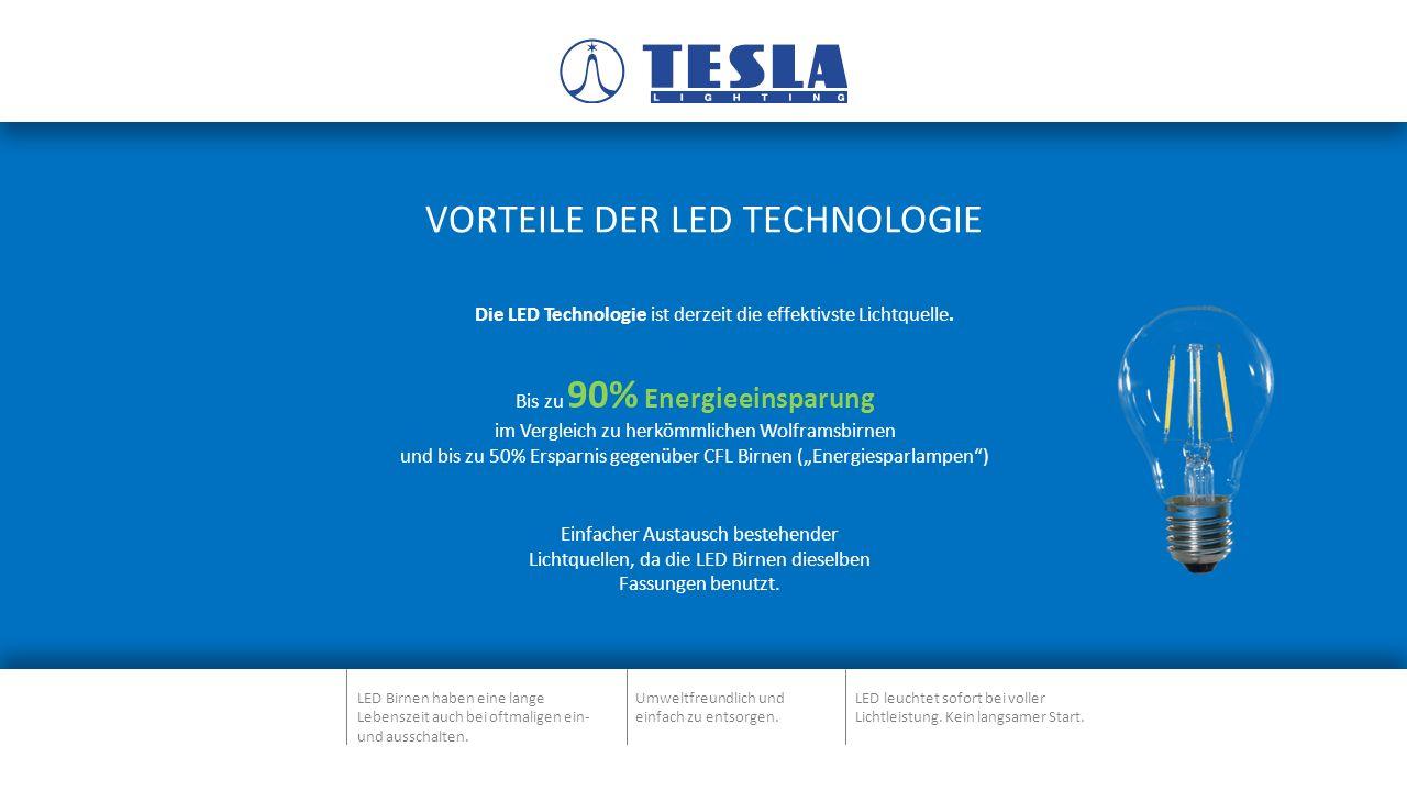 VORTEILE DER LED TECHNOLOGIE Einfacher Austausch bestehender Lichtquellen, da die LED Birnen dieselben Fassungen benutzt.