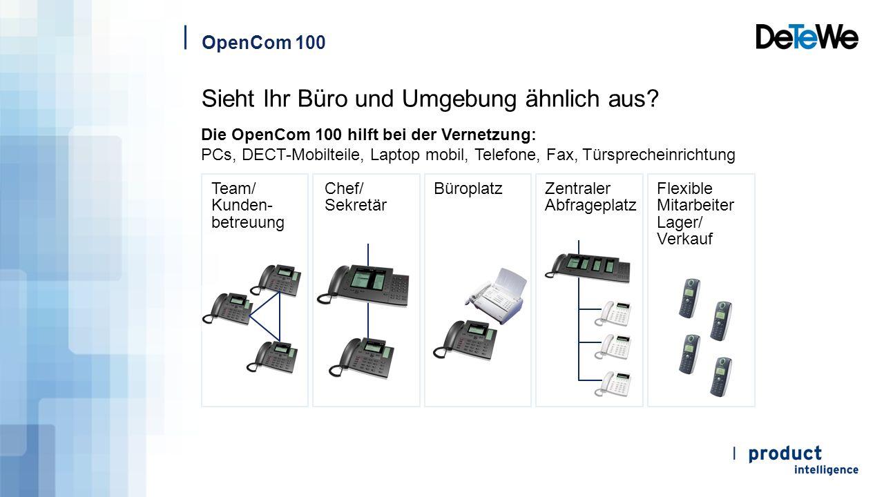 OpenCom 100 Die OpenCom 100 hilft bei der Vernetzung: PCs, DECT-Mobilteile, Laptop mobil, Telefone, Fax, Türsprecheinrichtung Team/ Kunden- betreuung