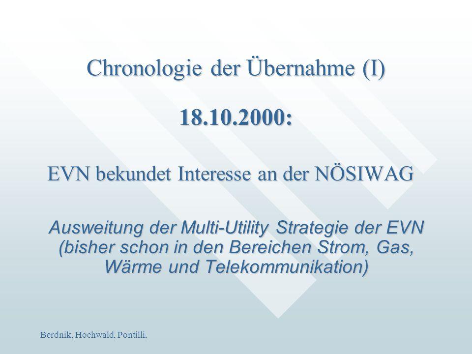 Berdnik, Hochwald, Pontilli, Chronologie der Übernahme (I) 18.10.2000: EVN bekundet Interesse an der NÖSIWAG Ausweitung der Multi-Utility Strategie de