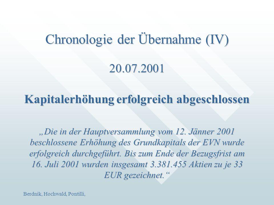 """Berdnik, Hochwald, Pontilli, Chronologie der Übernahme (IV) 20.07.2001 Kapitalerhöhung erfolgreich abgeschlossen """"Die in der Hauptversammlung vom 12."""