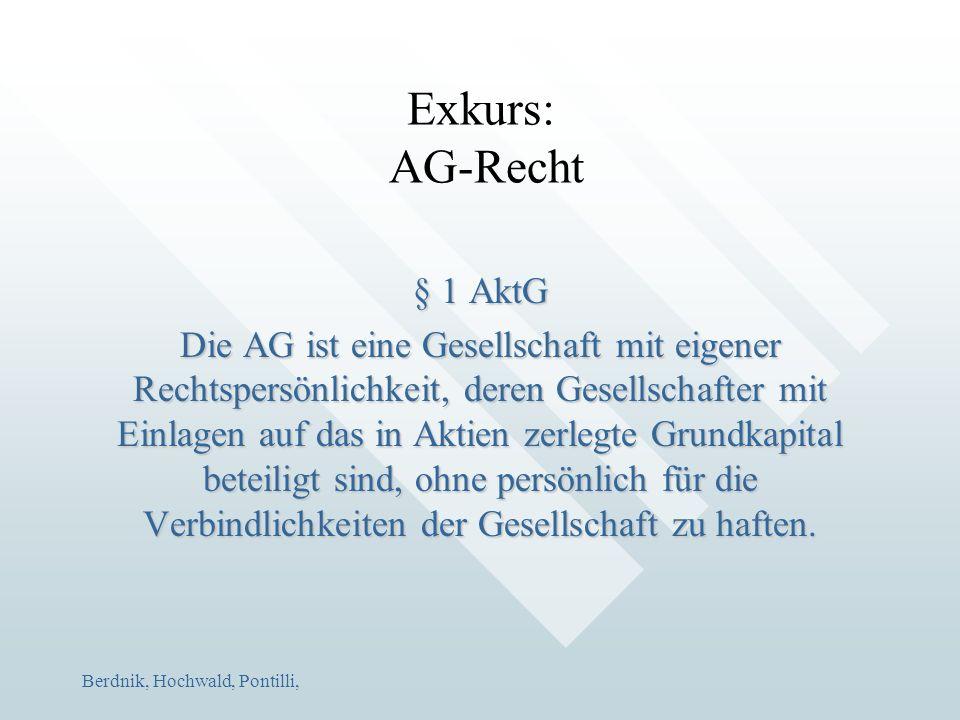 Berdnik, Hochwald, Pontilli, Exkurs: AG-Recht § 1 AktG Die AG ist eine Gesellschaft mit eigener Rechtspersönlichkeit, deren Gesellschafter mit Einlage