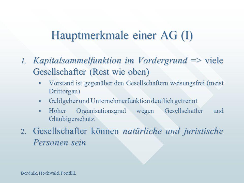 Berdnik, Hochwald, Pontilli, Hauptmerkmale einer AG (I) 1. Kapitalsammelfunktion im Vordergrund => viele Gesellschafter (Rest wie oben)  Vorstand ist