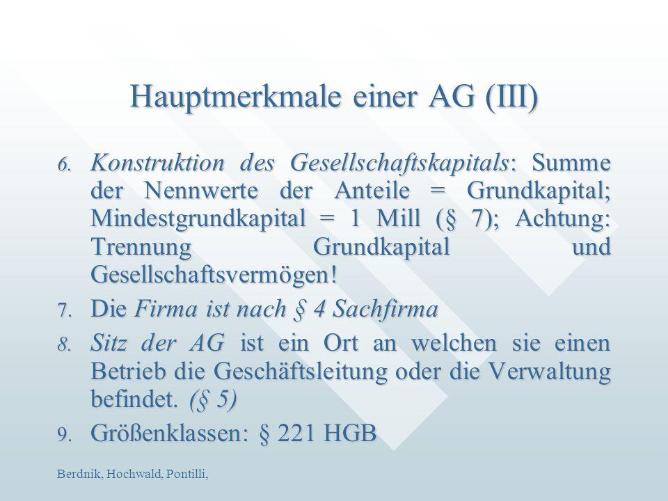 Berdnik, Hochwald, Pontilli, Hauptmerkmale einer AG (III) 6. Konstruktion des Gesellschaftskapitals: Summe der Nennwerte der Anteile = Grundkapital; M