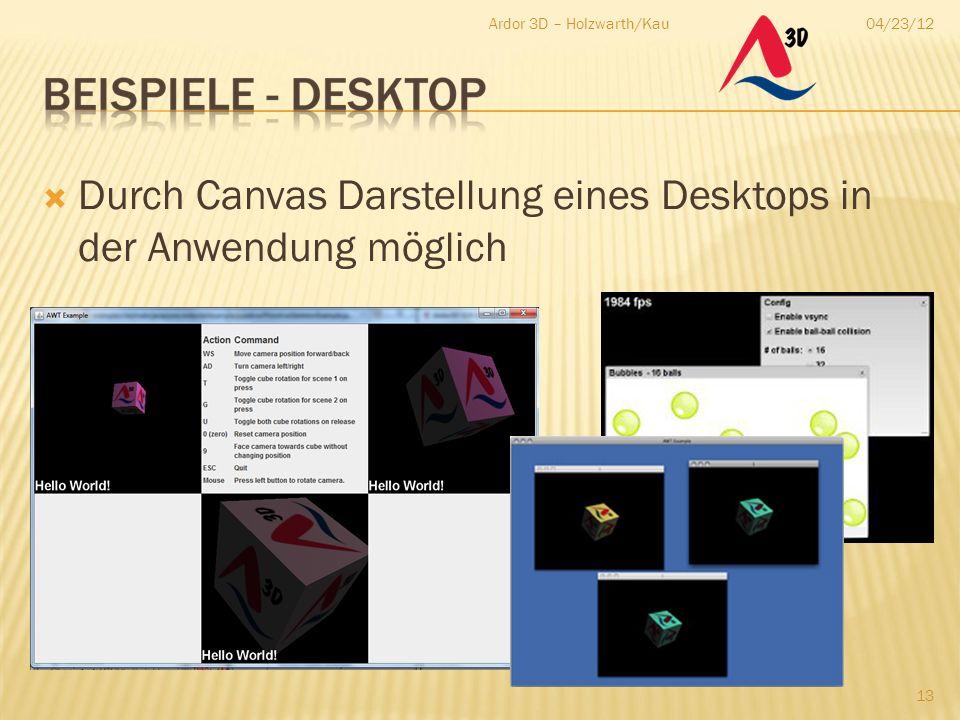04/23/12Ardor 3D – Holzwarth/Kau 13  Durch Canvas Darstellung eines Desktops in der Anwendung möglich