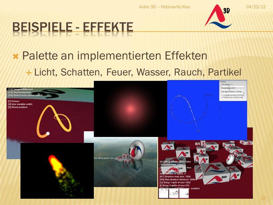 04/23/12Ardor 3D – Holzwarth/Kau 15  Palette an implementierten Effekten  Licht, Schatten, Feuer, Wasser, Rauch, Partikel