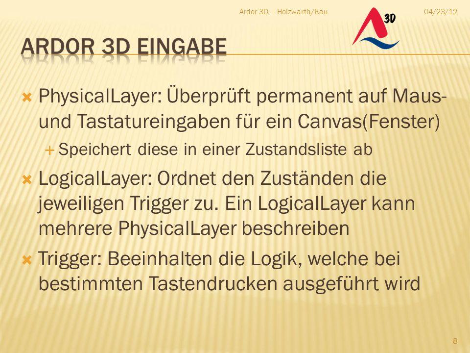  PhysicalLayer: Überprüft permanent auf Maus- und Tastatureingaben für ein Canvas(Fenster)  Speichert diese in einer Zustandsliste ab  LogicalLayer