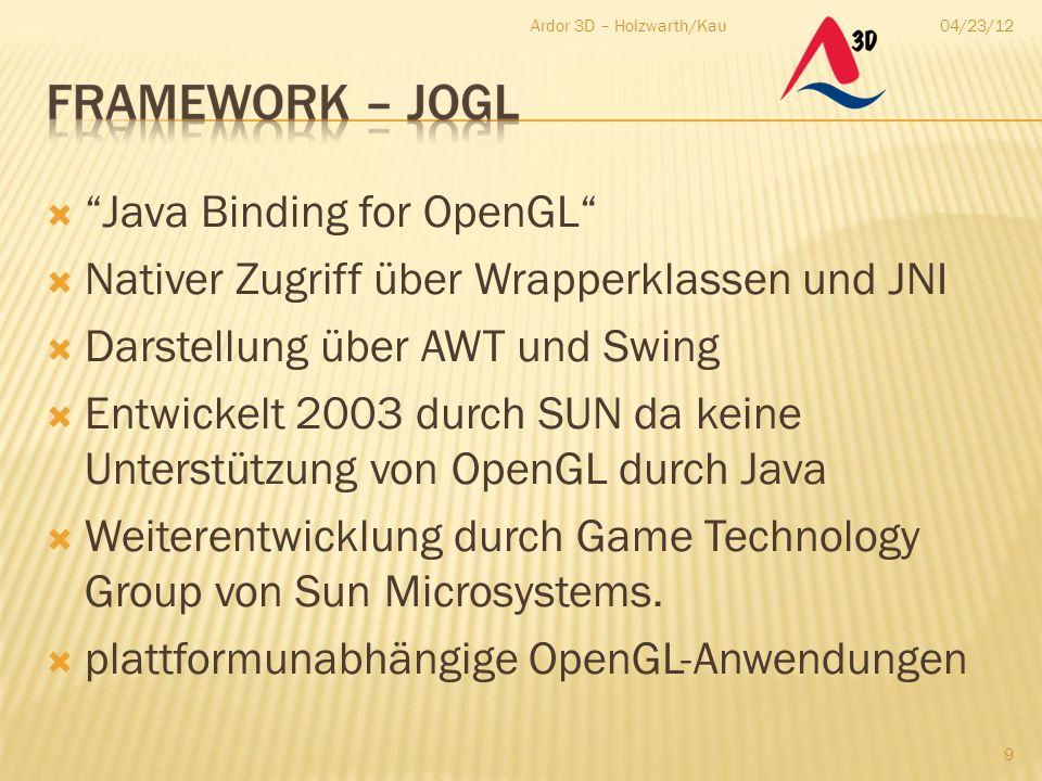 """04/23/12Ardor 3D – Holzwarth/Kau 9  """"Java Binding for OpenGL""""  Nativer Zugriff über Wrapperklassen und JNI  Darstellung über AWT und Swing  Entwic"""