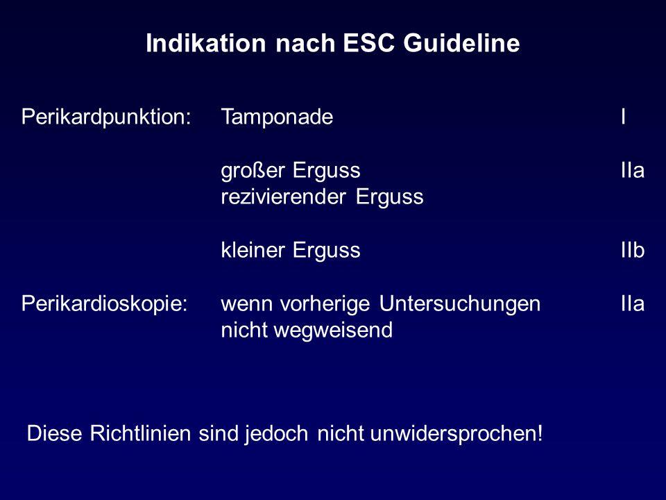 Indikation nach ESC Guideline Perikardpunktion:TamponadeI großer ErgussIIa rezivierender Erguss kleiner ErgussIIb Perikardioskopie:wenn vorherige UntersuchungenIIa nicht wegweisend Diese Richtlinien sind jedoch nicht unwidersprochen!