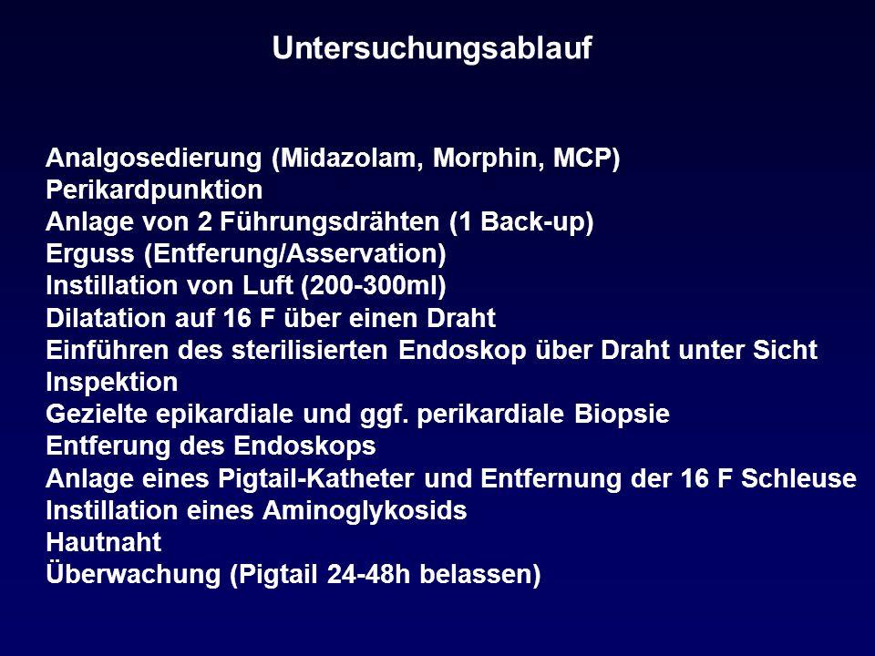 Untersuchungsablauf Analgosedierung (Midazolam, Morphin, MCP) Perikardpunktion Anlage von 2 Führungsdrähten (1 Back-up) Erguss (Entferung/Asservation) Instillation von Luft (200-300ml) Dilatation auf 16 F über einen Draht Einführen des sterilisierten Endoskop über Draht unter Sicht Inspektion Gezielte epikardiale und ggf.