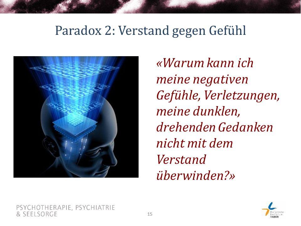 15 Paradox 2: Verstand gegen Gefühl «Warum kann ich meine negativen Gefühle, Verletzungen, meine dunklen, drehenden Gedanken nicht mit dem Verstand überwinden?»