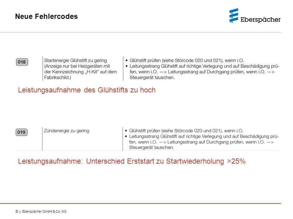 © J. Eberspächer GmbH & Co. KG Neue Fehlercodes Leistungsaufnahme des Glühstifts zu hoch Leistungsaufnahme: Unterschied Erststart zu Startwiederholung