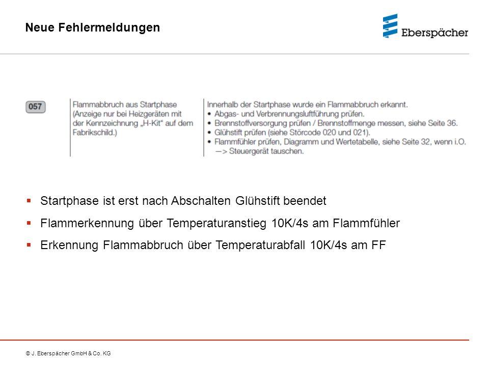© J. Eberspächer GmbH & Co. KG Neue Fehlermeldungen  Startphase ist erst nach Abschalten Glühstift beendet  Flammerkennung über Temperaturanstieg 10