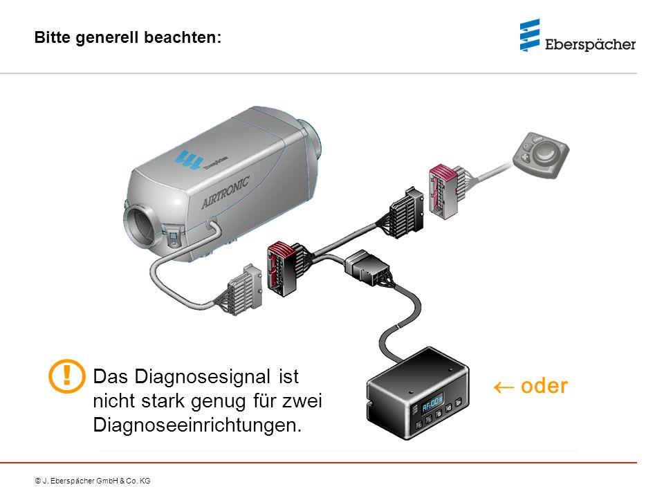 © J. Eberspächer GmbH & Co. KG Bitte generell beachten:  oder Das Diagnosesignal ist nicht stark genug für zwei Diagnoseeinrichtungen. !