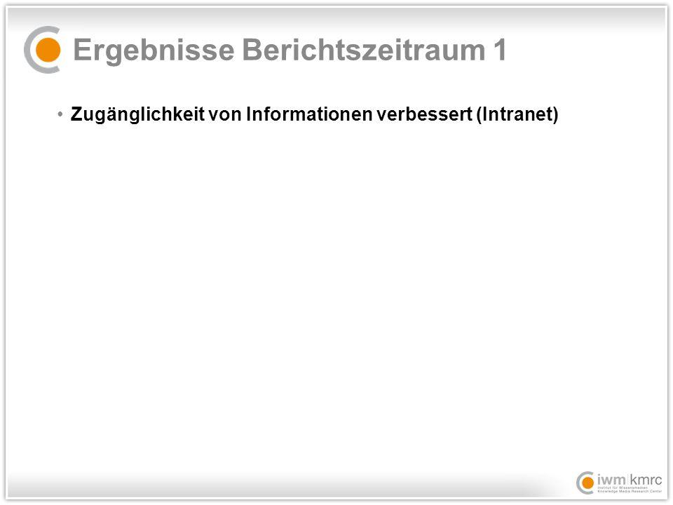 Ergebnisse Berichtszeitraum 1 Zugänglichkeit von Informationen verbessert (Intranet)