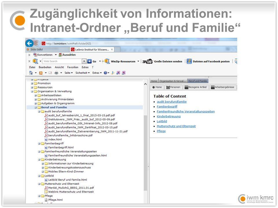"""Zugänglichkeit von Informationen: Intranet-Ordner """"Beruf und Familie"""