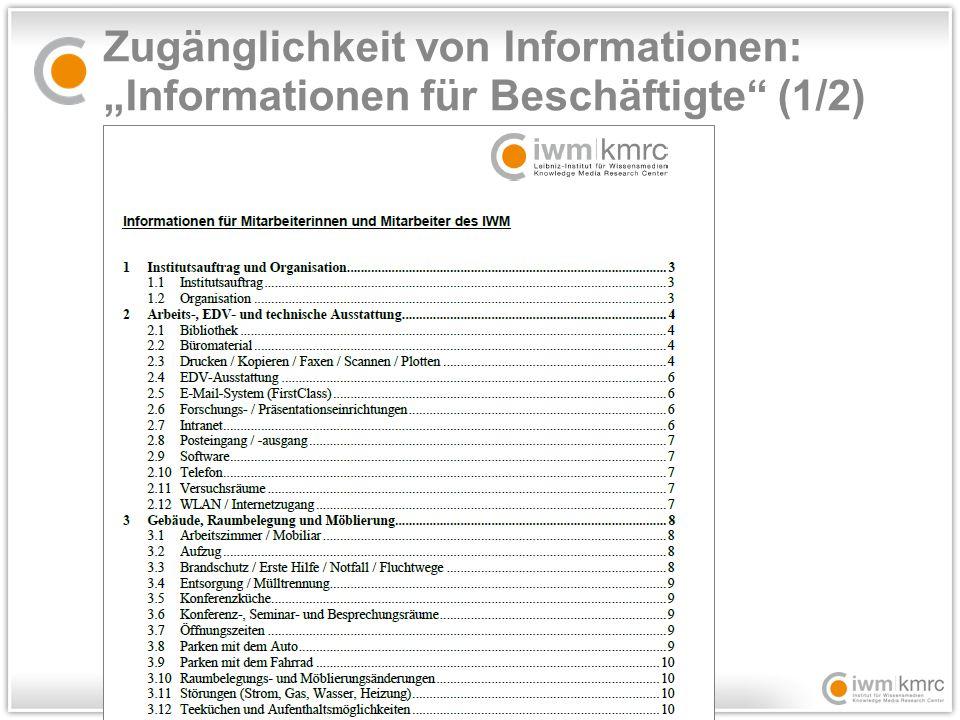 """Zugänglichkeit von Informationen: """"Informationen für Beschäftigte (1/2)"""