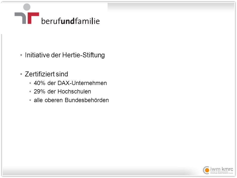 Initiative der Hertie-Stiftung Zertifiziert sind 40% der DAX-Unternehmen 29% der Hochschulen alle oberen Bundesbehörden