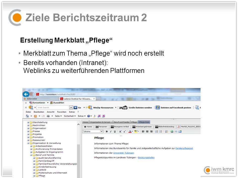 """Ziele Berichtszeitraum 2 Erstellung Merkblatt """"Pflege Merkblatt zum Thema """"Pflege wird noch erstellt Bereits vorhanden (Intranet): Weblinks zu weiterführenden Plattformen"""
