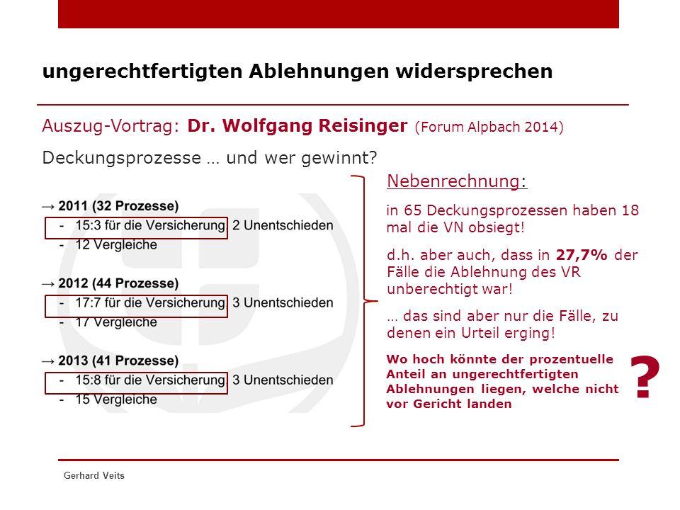 ungerechtfertigten Ablehnungen widersprechen Auszug-Vortrag: Dr. Wolfgang Reisinger (Forum Alpbach 2014) Gerhard Veits Deckungsprozesse … und wer gewi
