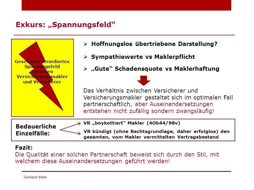"""Gerhard Veits Exkurs: """"Spannungsfeld""""  Hoffnungslos übertriebene Darstellung? Versiche rer Gesetzlich verordnetes Spannungsfeld zwischen Versicherung"""