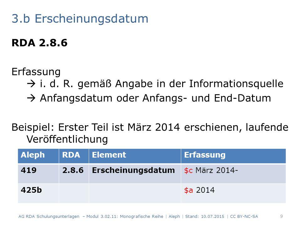 3.b Erscheinungsdatum RDA 2.8.6 Erfassung  i. d.