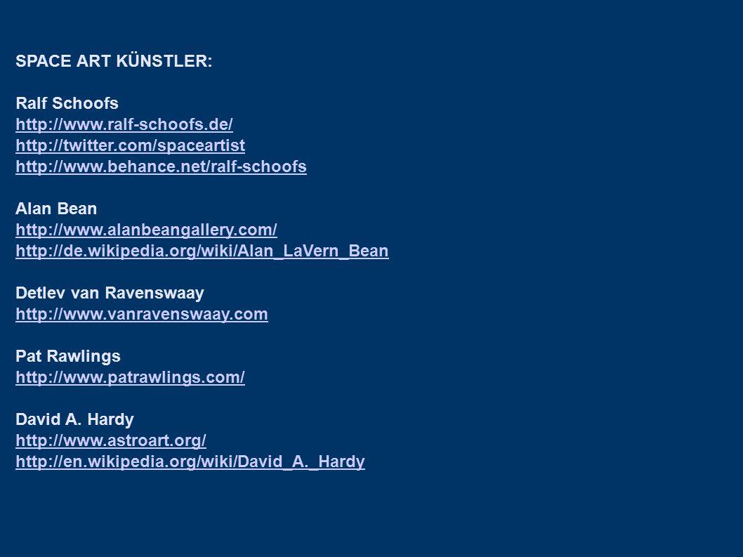 SPACE ART KÜNSTLER: Ralf Schoofs http://www.ralf-schoofs.de/ http://twitter.com/spaceartist http://www.behance.net/ralf-schoofs Alan Bean http://www.a
