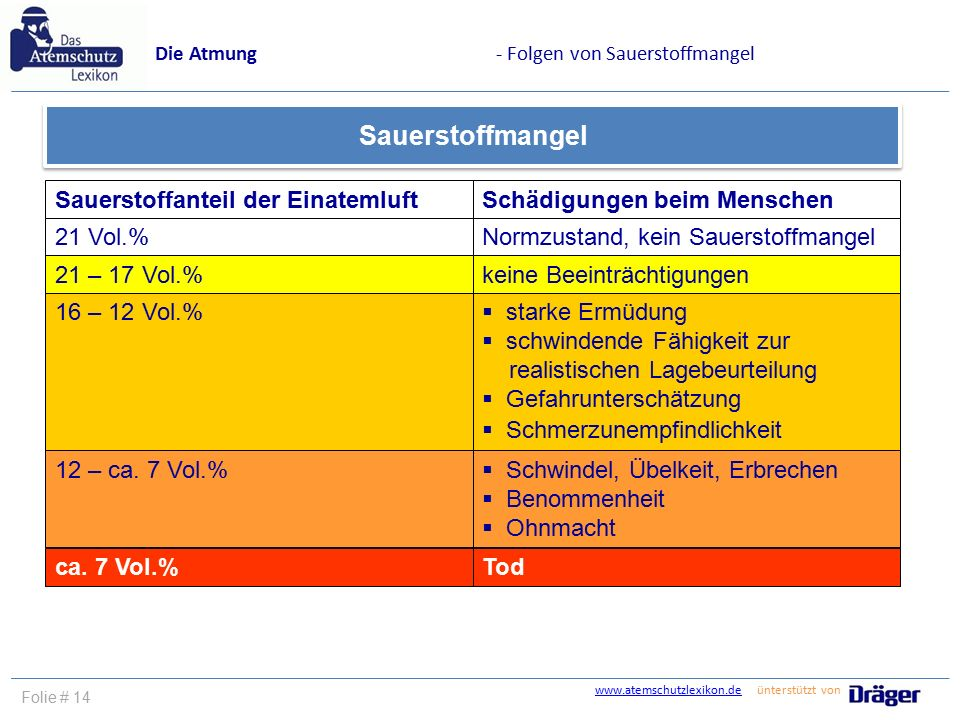 www.atemschutzlexikon.dewww.atemschutzlexikon.de ünterstützt von Folie # 14 Die Atmung- Folgen von Sauerstoffmangel Sauerstoffanteil der EinatemluftSc