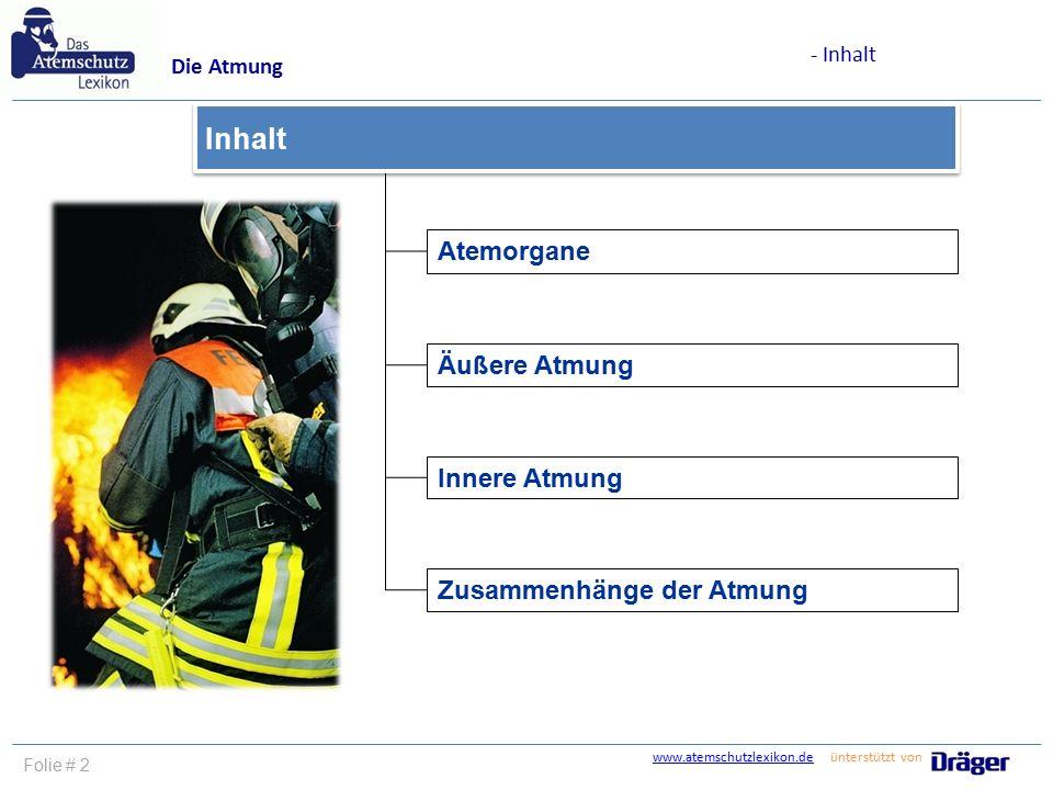 www.atemschutzlexikon.dewww.atemschutzlexikon.de ünterstützt von Folie # 2 Atemorgane Äußere Atmung Innere Atmung Zusammenhänge der Atmung Inhalt Die