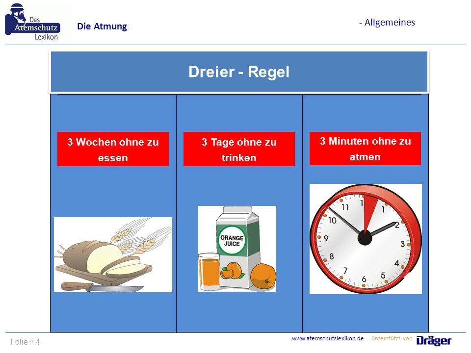 www.atemschutzlexikon.dewww.atemschutzlexikon.de ünterstützt von Folie # 4 Dreier - Regel 3 Wochen ohne zu essen 3 Tage ohne zu trinken 3 Minuten ohne