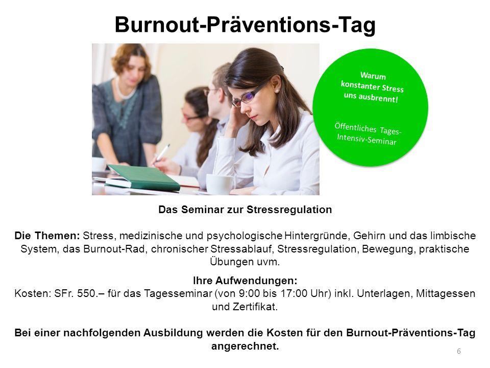 Burnout-Präventions-Tag Das Seminar zur Stressregulation Die Themen: Stress, medizinische und psychologische Hintergründe, Gehirn und das limbische Sy
