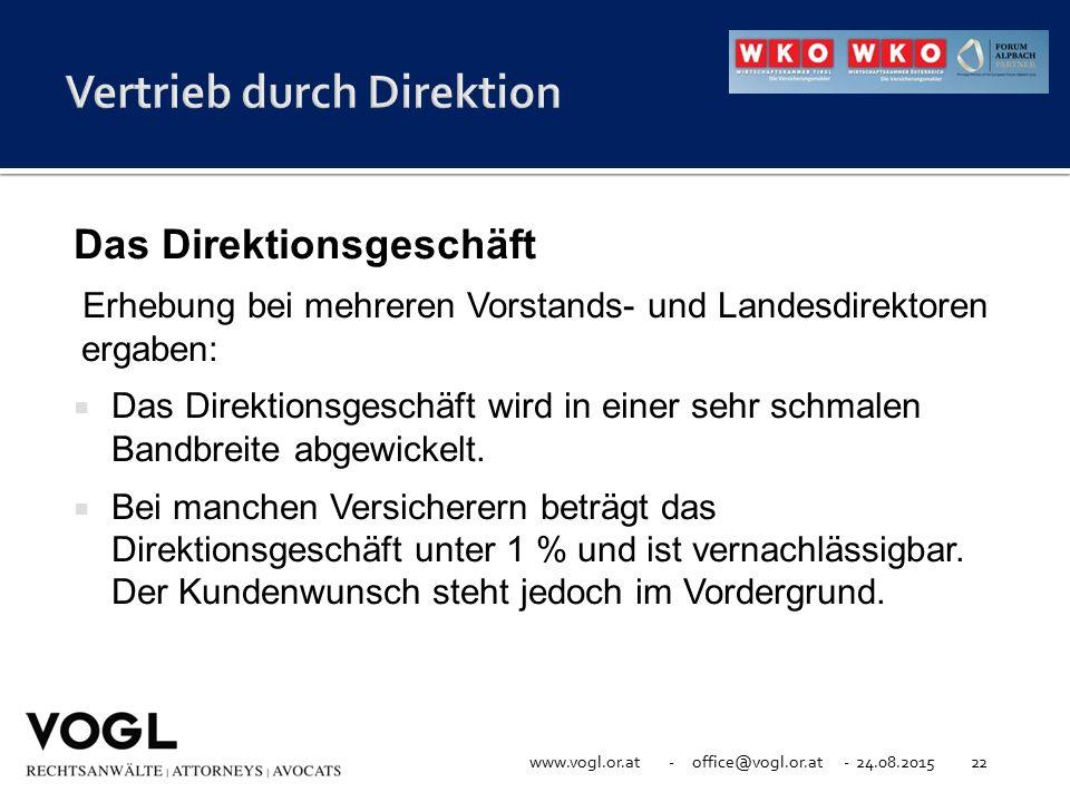 www.vogl.or.at - office@vogl.or.at - 24.08.201522 Das Direktionsgeschäft Erhebung bei mehreren Vorstands- und Landesdirektoren ergaben:  Das Direktio