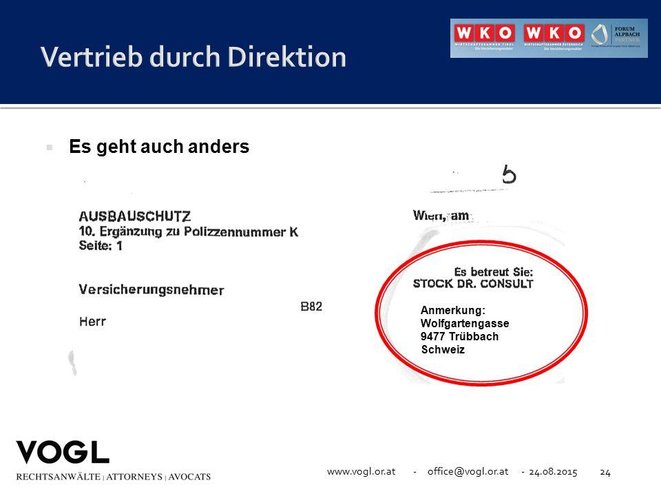 www.vogl.or.at - office@vogl.or.at - 24.08.201524  Es geht auch anders Anmerkung: Wolfgartengasse 9477 Trübbach Schweiz