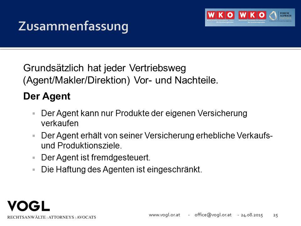 www.vogl.or.at - office@vogl.or.at - 24.08.201525 Grundsätzlich hat jeder Vertriebsweg (Agent/Makler/Direktion) Vor- und Nachteile. Der Agent  Der Ag