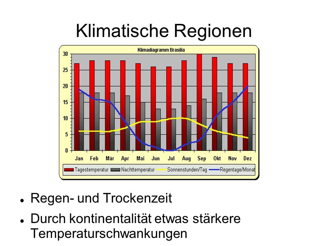 Klimatische Regionen Regen- und Trockenzeit Durch kontinentalität etwas stärkere Temperaturschwankungen