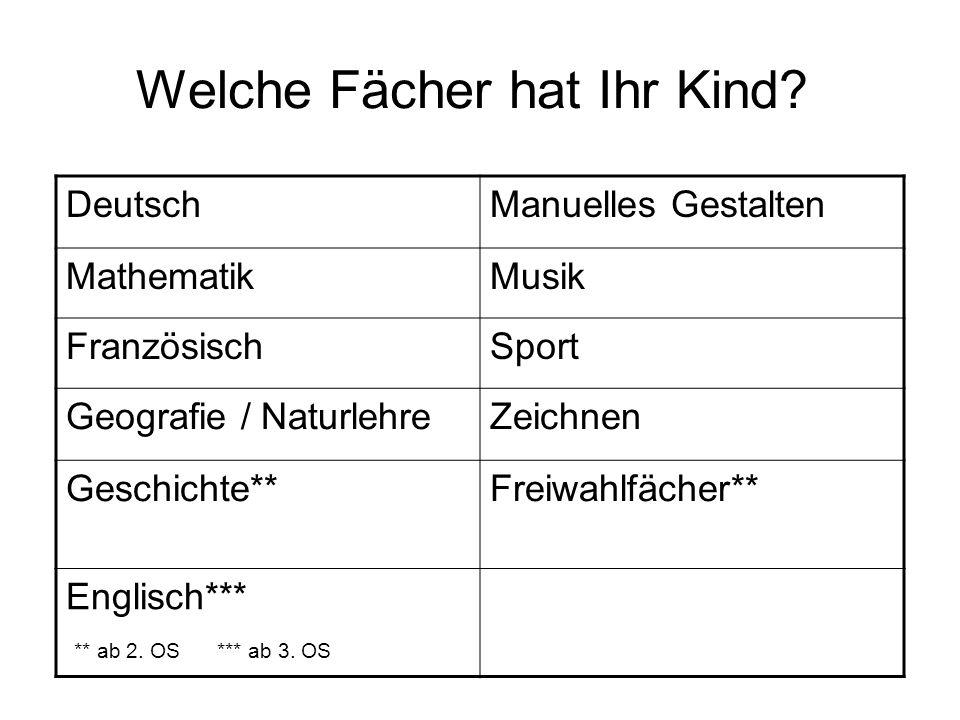 Welche Fächer hat Ihr Kind? DeutschManuelles Gestalten MathematikMusik FranzösischSport Geografie / NaturlehreZeichnen Geschichte**Freiwahlfächer** En