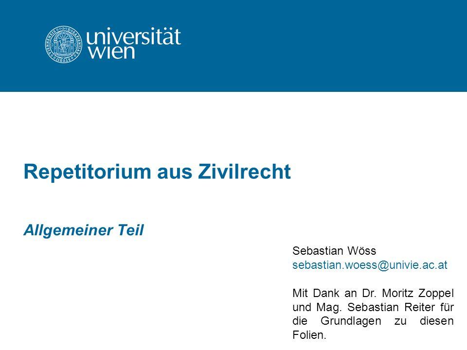 Repetitorium aus Zivilrecht Allgemeiner Teil Sebastian Wöss sebastian.woess@univie.ac.at Mit Dank an Dr. Moritz Zoppel und Mag. Sebastian Reiter für d