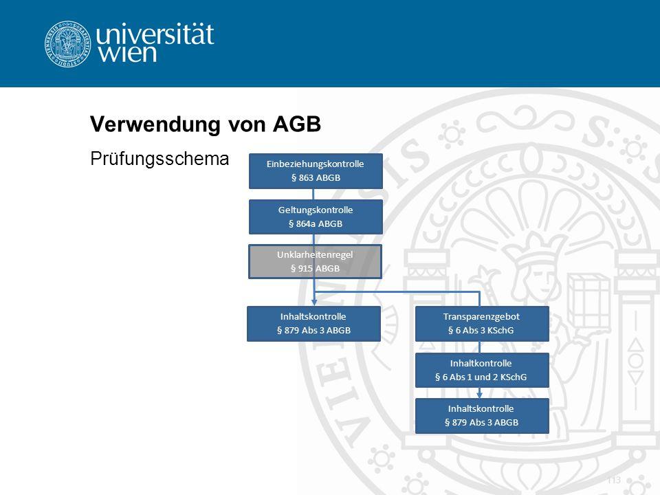 Verwendung von AGB Prüfungsschema 113 Einbeziehungskontrolle § 863 ABGB Geltungskontrolle § 864a ABGB Unklarheitenregel § 915 ABGB Inhaltskontrolle §