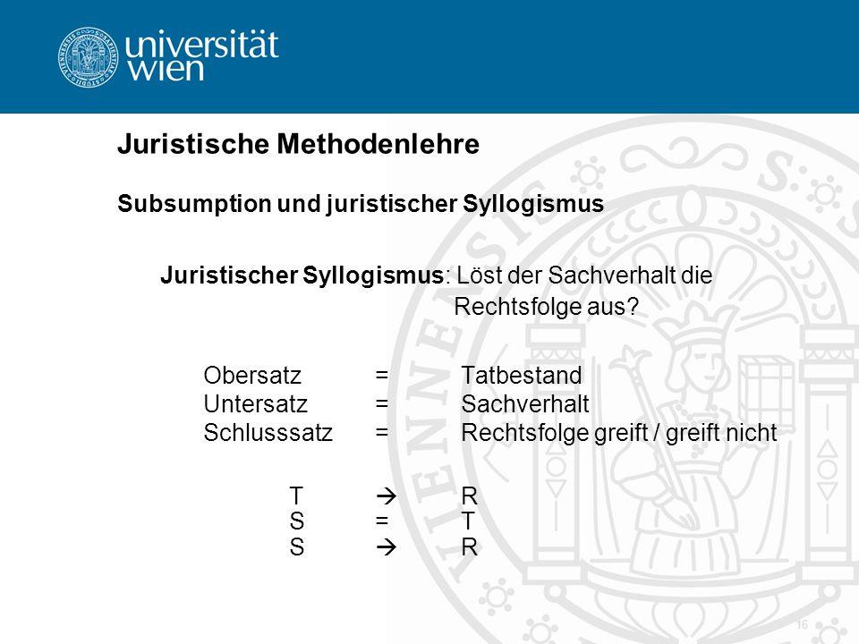 16 Juristische Methodenlehre Subsumption und juristischer Syllogismus Juristischer Syllogismus: Löst der Sachverhalt die Rechtsfolge aus? Obersatz = T