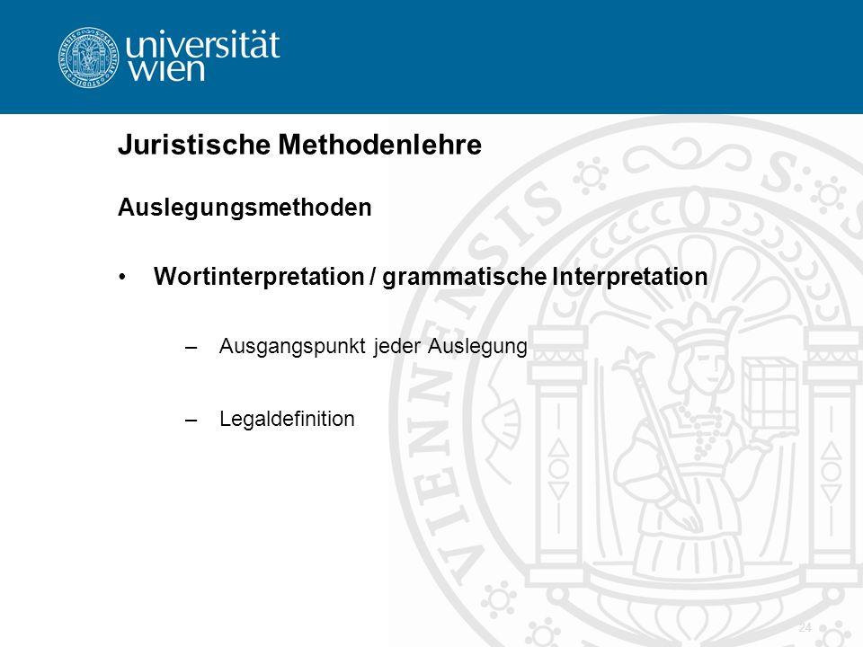 24 Juristische Methodenlehre Auslegungsmethoden Wortinterpretation / grammatische Interpretation –Ausgangspunkt jeder Auslegung –Legaldefinition