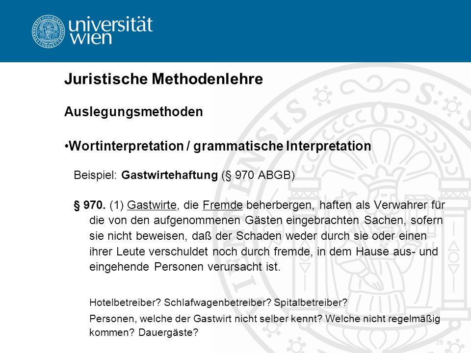 28 Juristische Methodenlehre Auslegungsmethoden Wortinterpretation / grammatische Interpretation Beispiel: Gastwirtehaftung (§ 970 ABGB) § 970. (1) Ga