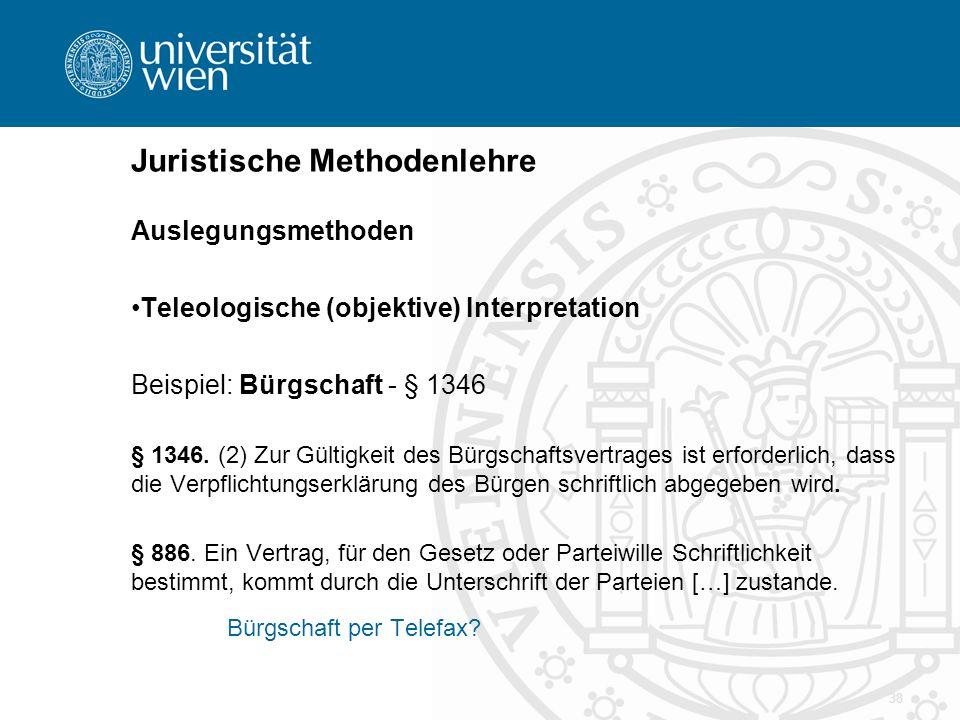 38 Juristische Methodenlehre Auslegungsmethoden Teleologische (objektive) Interpretation Beispiel: Bürgschaft - § 1346 § 1346. (2) Zur Gültigkeit des