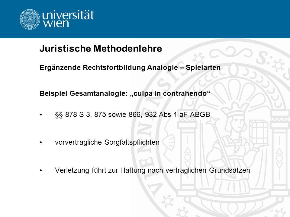 """50 Juristische Methodenlehre Ergänzende Rechtsfortbildung Analogie – Spielarten Beispiel Gesamtanalogie: """"culpa in contrahendo"""" §§ 878 S 3, 875 sowie"""