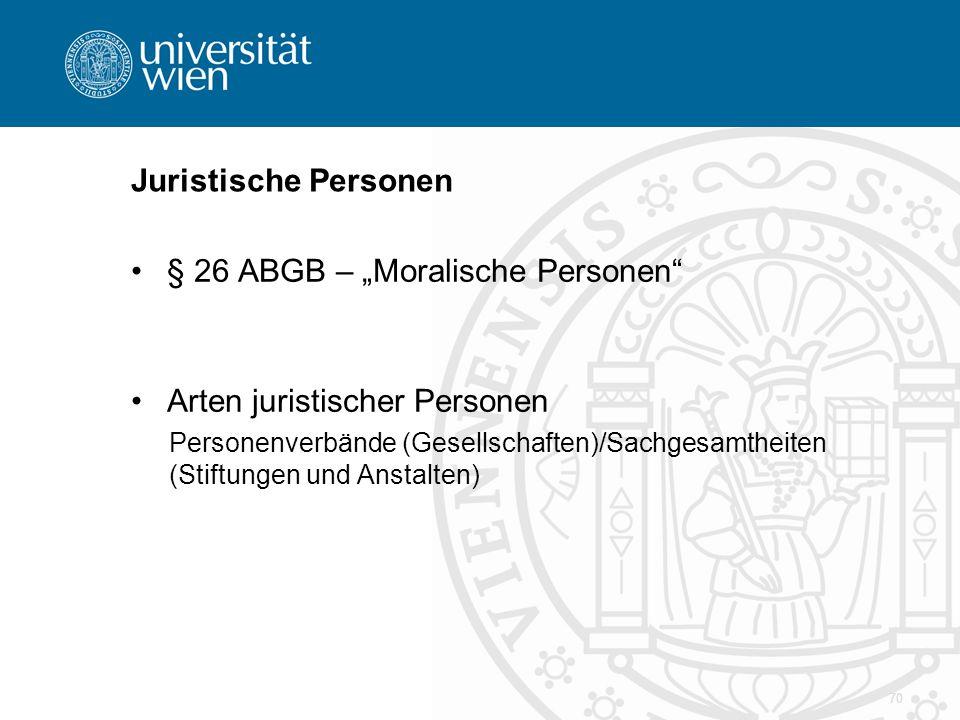 """Juristische Personen § 26 ABGB – """"Moralische Personen"""" Arten juristischer Personen Personenverbände (Gesellschaften)/Sachgesamtheiten (Stiftungen und"""