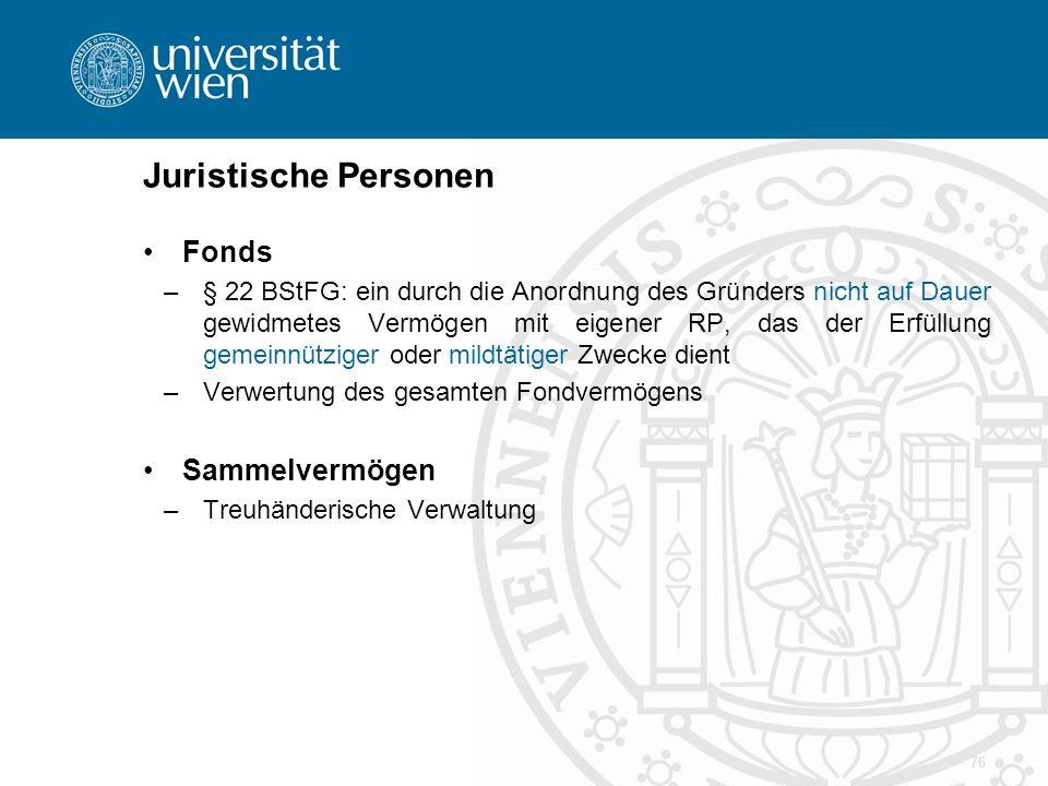 Juristische Personen Fonds –§ 22 BStFG: ein durch die Anordnung des Gründers nicht auf Dauer gewidmetes Vermögen mit eigener RP, das der Erfüllung gem