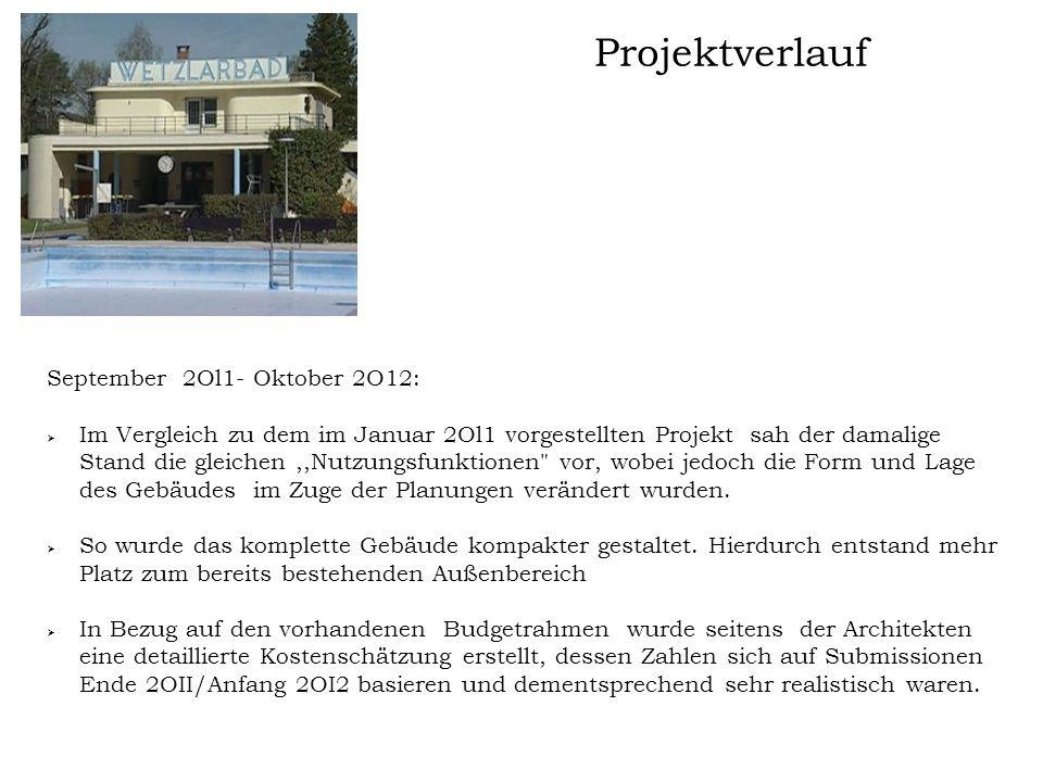 Projektverlauf September 2Ol1- Oktober 2O12:  Im Vergleich zu dem im Januar 2Ol1 vorgestellten Projekt sah der damalige Stand die gleichen,,Nutzungsf