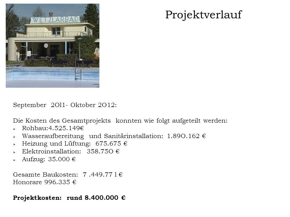 Projektverlauf September 2Ol1- Oktober 2O12: Die Kosten des Gesamtprojekts konnten wie folgt aufgeteilt werden:  Rohbau:4.525.149€  Wasseraufbereitu