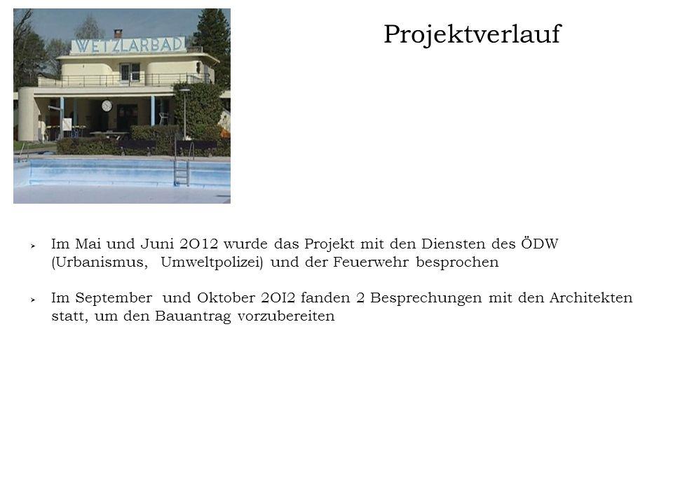 Projektverlauf  Im Mai und Juni 2O12 wurde das Projekt mit den Diensten des ÖDW (Urbanismus, Umweltpolizei) und der Feuerwehr besprochen  Im Septemb