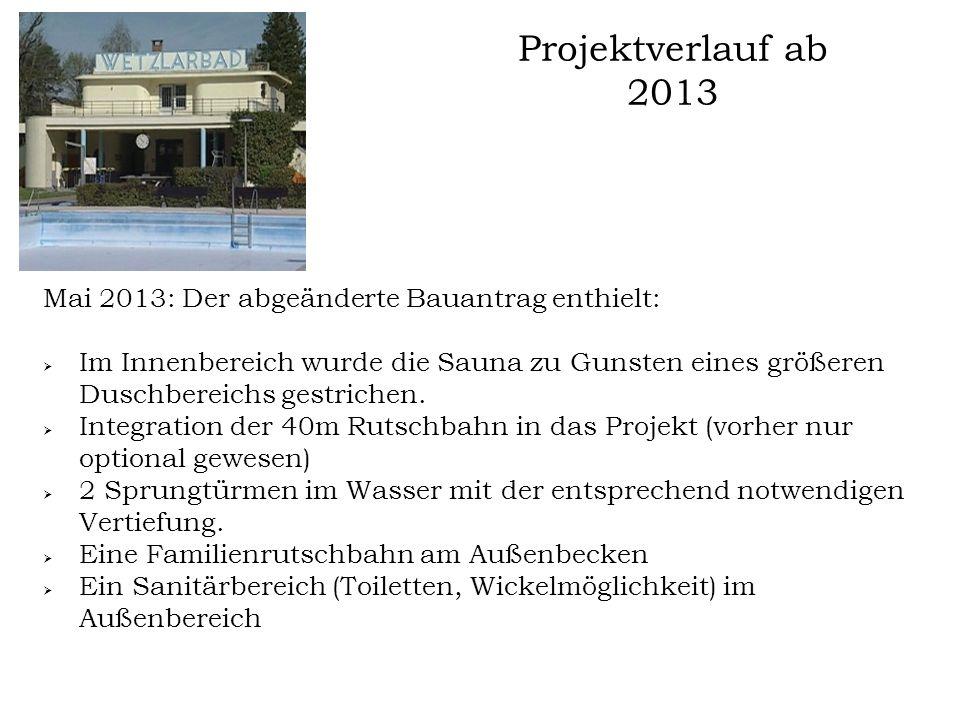 Projektverlauf ab 2013 Mai 2013: Der abgeänderte Bauantrag enthielt:  Im Innenbereich wurde die Sauna zu Gunsten eines größeren Duschbereichs gestric